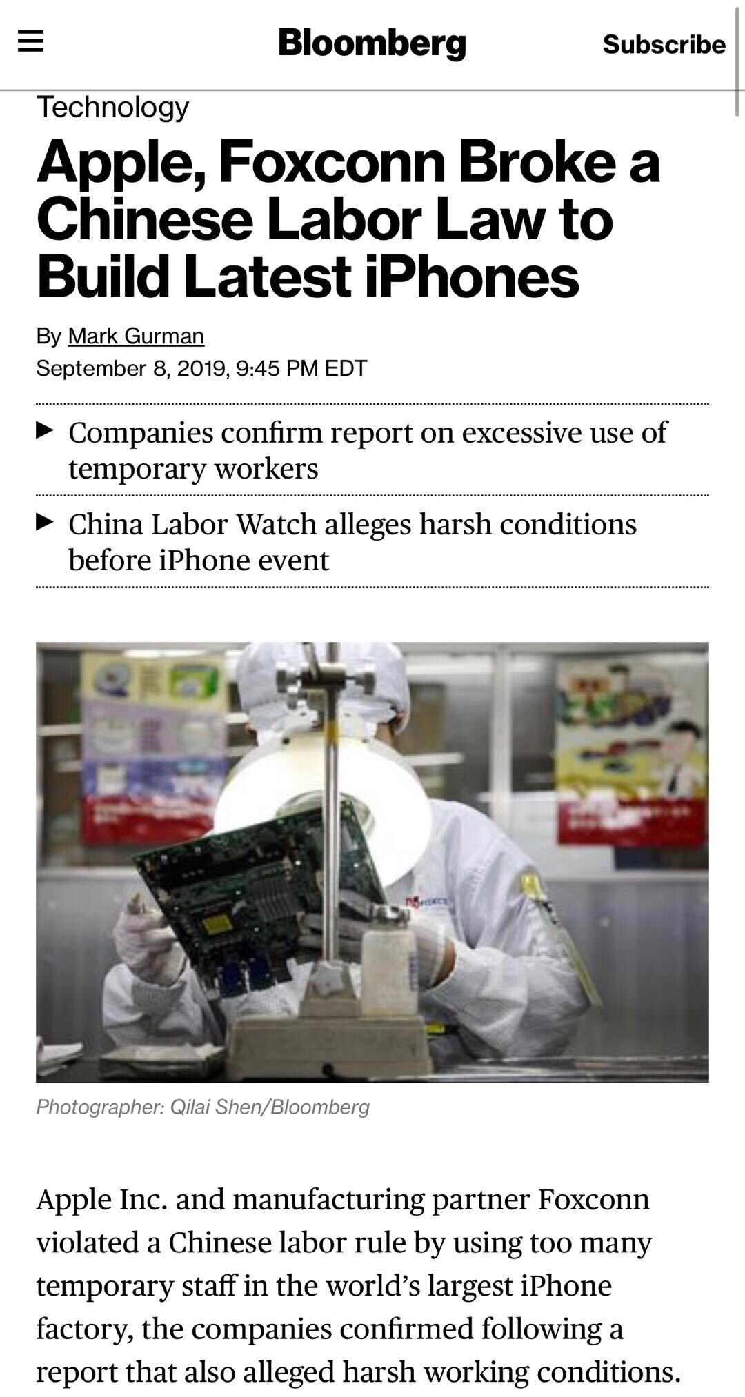 苹果承认违反中国劳动法怎么回事 苹果违反了中国劳动法哪些内容