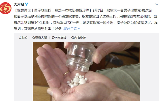 吃生蚝吐48颗珍珠怎么回事 48颗珍珠现场图能卖钱么价值多少?