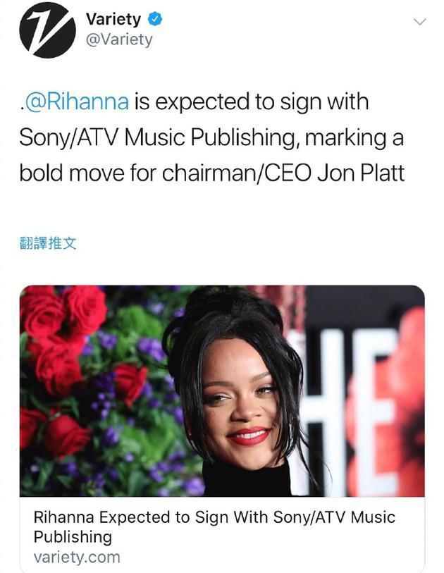 新歌来了!蕾哈娜被曝将与索尼签约发行两张新专辑