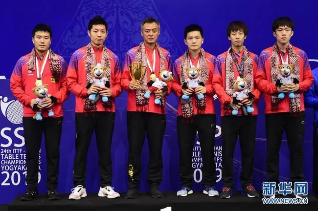 (體育)(1)乒乓球——亞錦賽:中國男隊奪得冠軍