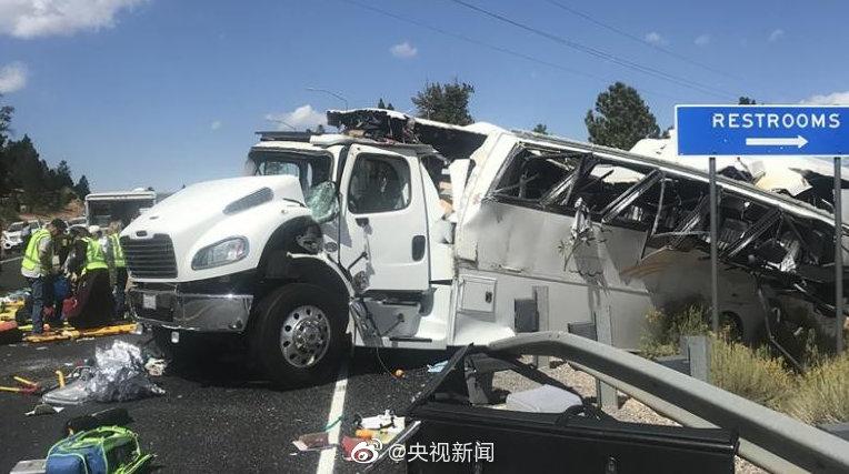 犹他州事故中国游客4死26伤最新消息 犹他州事故现场图翻车原因曝光