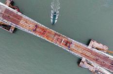 平潭海峡公铁大桥在福建合龙贯通