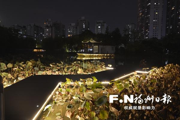 """福州茶亭公园改造基本完工 月下荷塘等你""""赏光"""""""