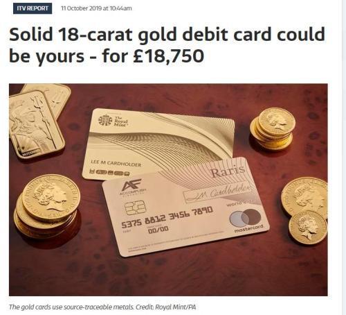首张纯金银行卡是怎样的 此卡售价约1.87万英镑