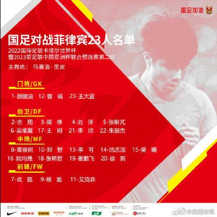 国足战菲律宾名单公布 国足菲律宾具体赛程时间