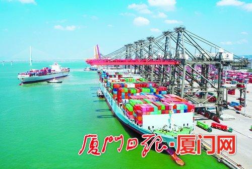 满载集装箱的轮船靠岸厦门远海码头。