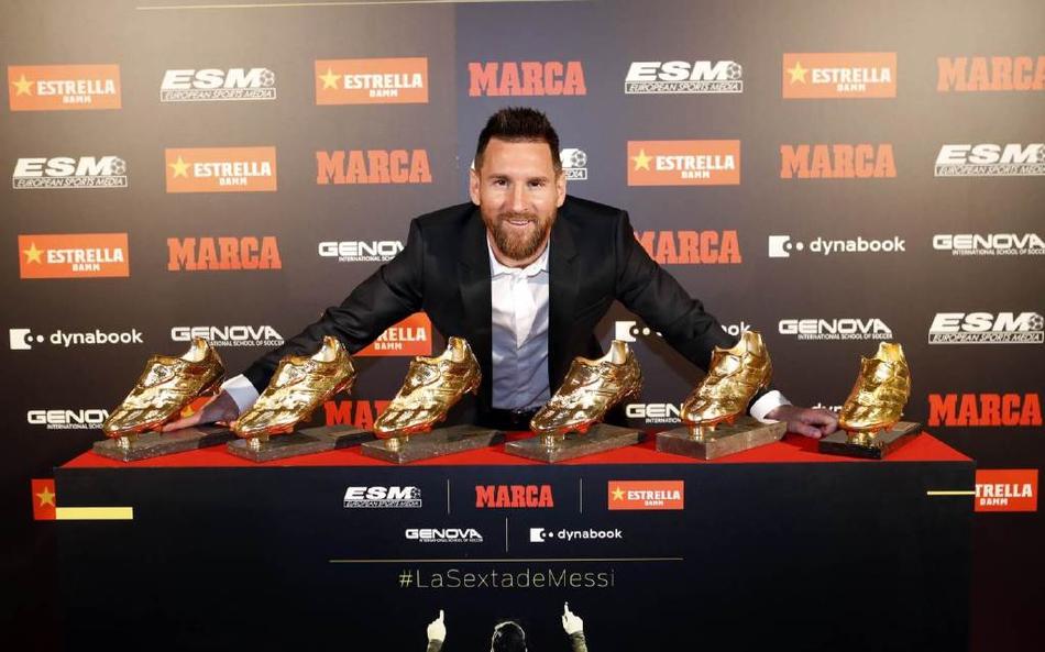 梅西6夺欧洲金靴创历史 得奖数已领先C罗两次