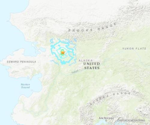 美国阿拉斯加地震 震源深度17.5千米