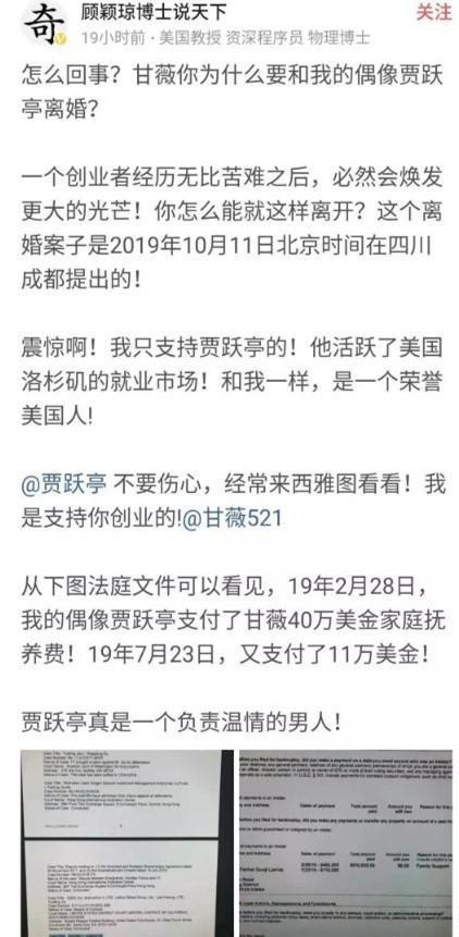 传贾跃亭申请离婚 向甘薇支付了40万美元的家庭抚养费