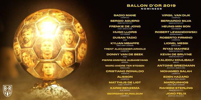 金球奖候选人名单公布 利物浦7人入围皇马仅2人