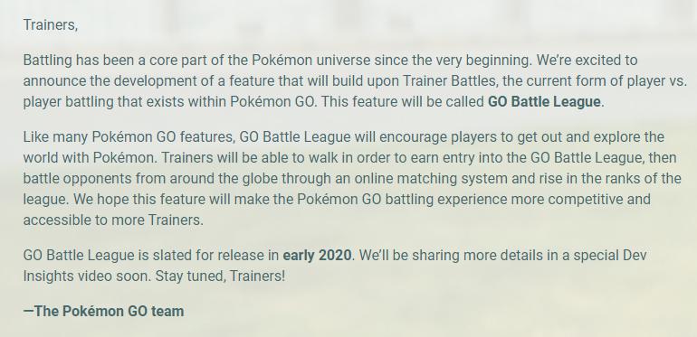 《寶可夢GO》公布全新PVP對戰模式 2020年初上線