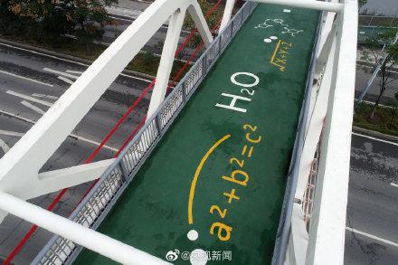 写满数理化公式的天桥详细新闻介绍?写满数理化公式的天桥什么样的图片