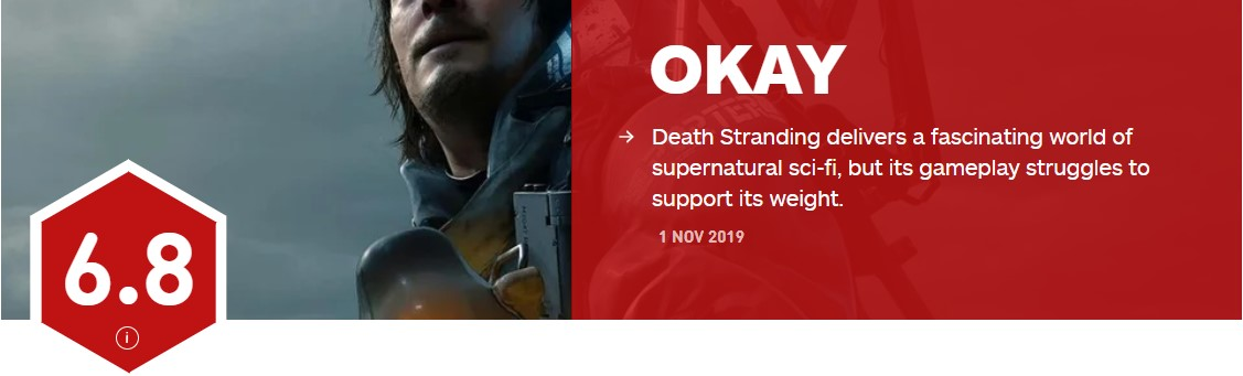 《死亡搁浅》IGN 6.8分 玩法难以支撑这种作品
