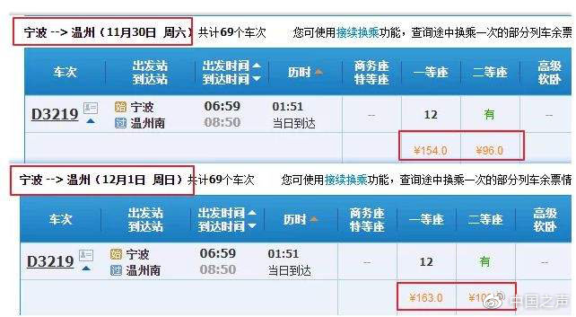 """""""高铁""""也参加""""双十一"""" 票价最高折扣达5.5折"""