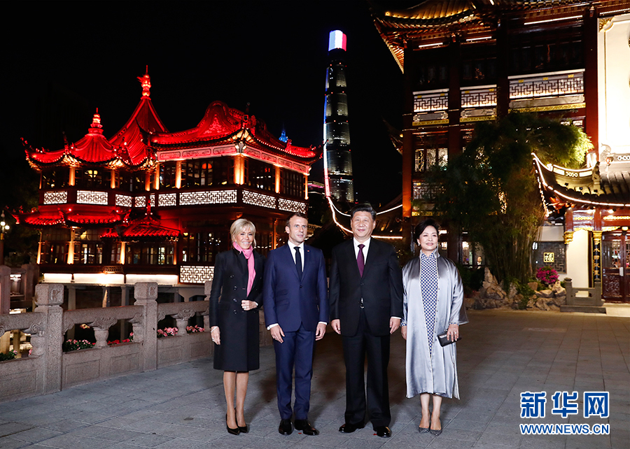 习近平夫妇在上海会见法国总统马克龙夫妇