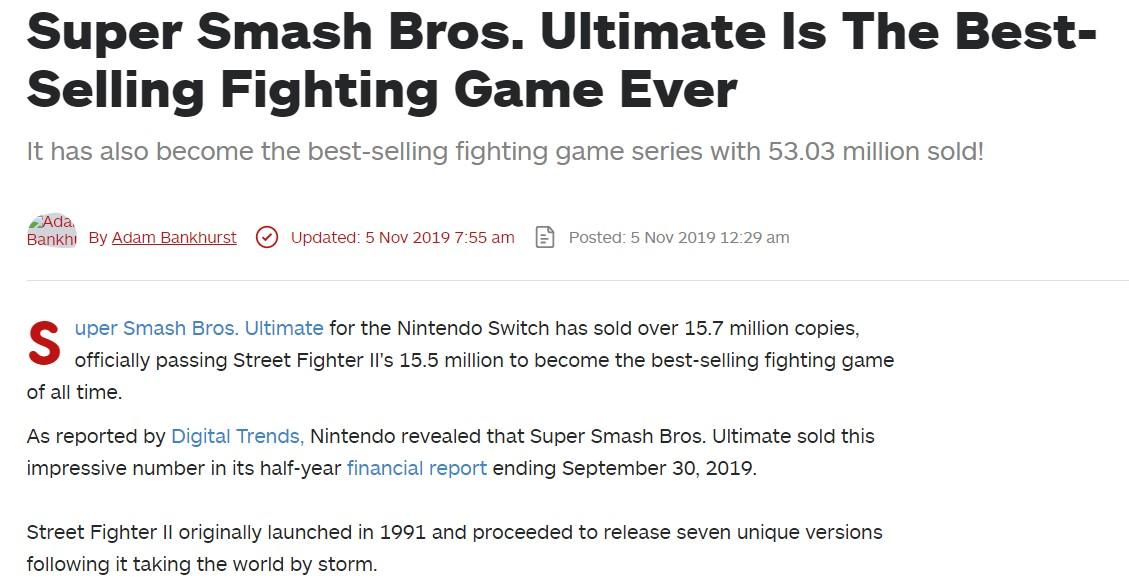 《任天堂明星大亂斗特別版》超越《街霸2》成為史上最暢銷格斗游戲