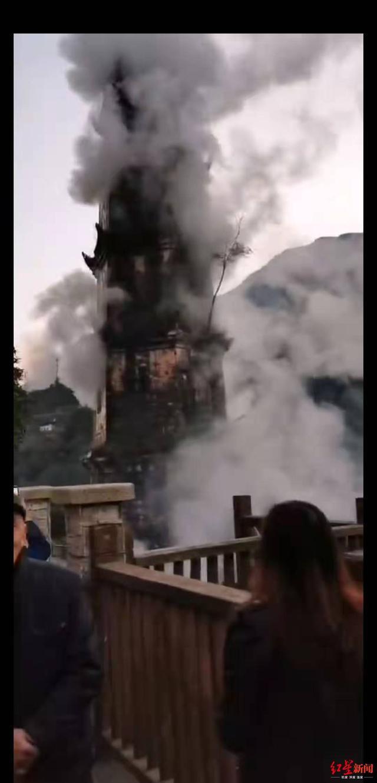 巴中百年古塔起火被烧?官方:系祭祀草纸被点燃起火