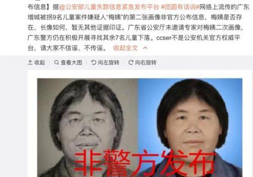 网传梅姨第二张画像非官方公布怎么回事?公安部辟谣事件始末