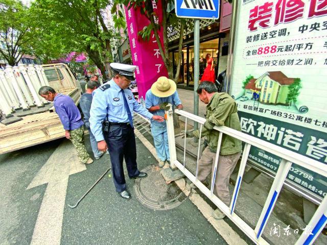 宁德南环路等商业大街加装人车隔离护栏