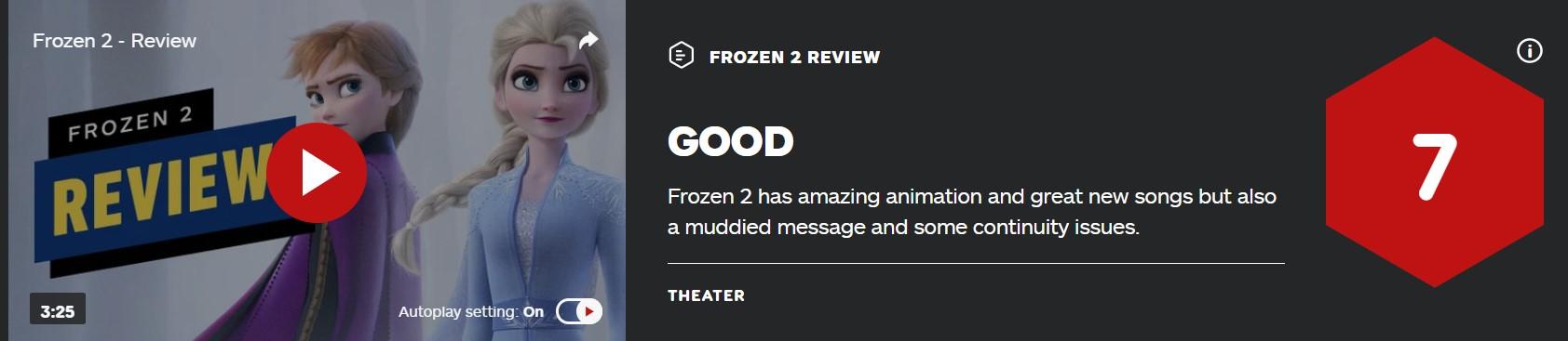 《冰雪奇缘2》IGN 7分:动画超赞 但问题不少