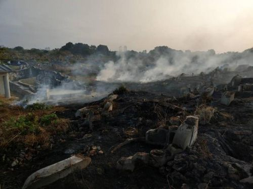 台南公墓发生杂草火警 野火窜烧100分钟后被扑灭
