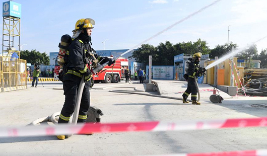泉州舉行建筑施工消防安全事故應急救援演練