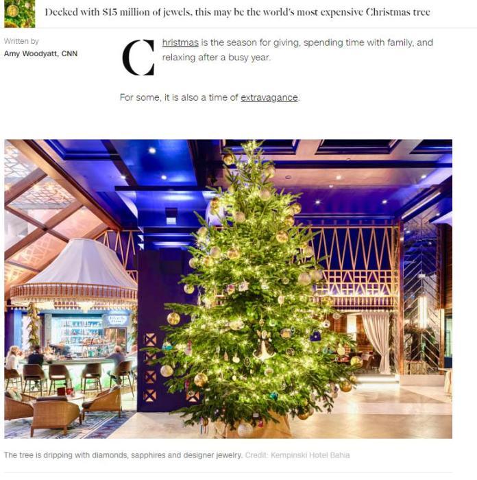 全球最贵圣诞树怎么回事 钻石蓝宝石装饰价值1190万英镑(图)