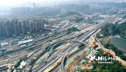福州新店外环路东段建设快马加鞭 新店互通右幅主线本月贯通