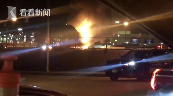 洛杉矶机场起火怎么回事原因是什么 两辆大巴被烧毁只剩骨架