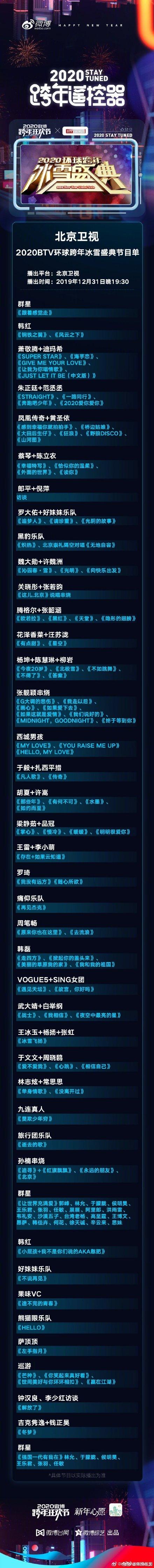 2020北京衛視跨年晚會節目單 北京衛視跨年晚會幾點開始