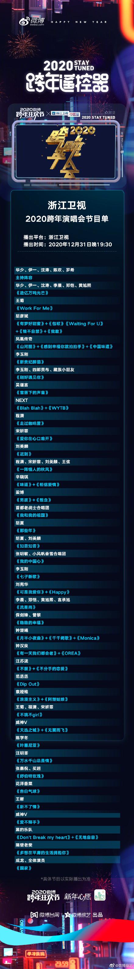2020浙江衛視跨年晚會明星嘉賓陣容完整版+主持人都有誰