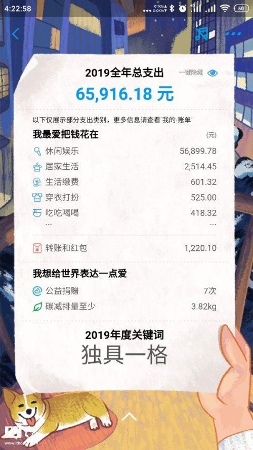 2019年支付宝年度账单 这一年你花了多少钱?