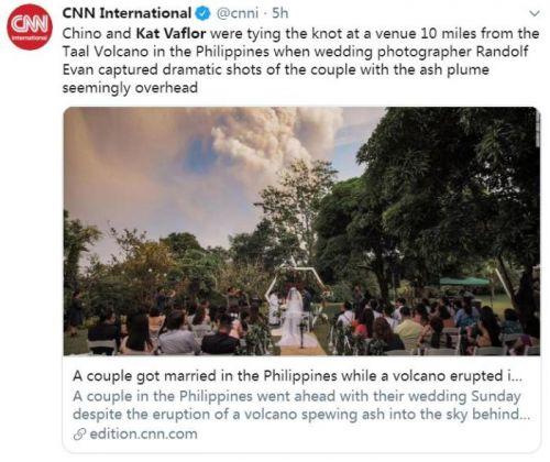 真爱!一对菲律宾新人在火山喷发当天举行婚礼