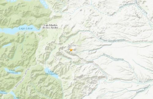 阿根廷西部发生5.3级地震。(图片来源:美国地质勘探局网站截图)