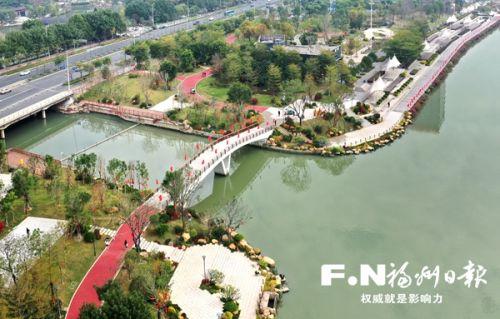 光明港核心景观带综合提升基本完工(无人机拍摄)。记者 叶义斌 摄
