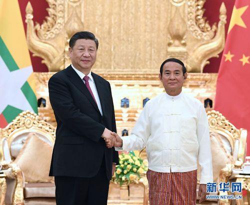 当地时间1月17日下午,国家主席习近平在内比都同缅甸总统温敏会谈。 新华社记者 饶爱民 摄