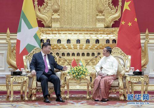 当地时间1月17日下午,国家主席习近平在内比都同缅甸总统温敏会谈。 新华社记者 谢环驰 摄