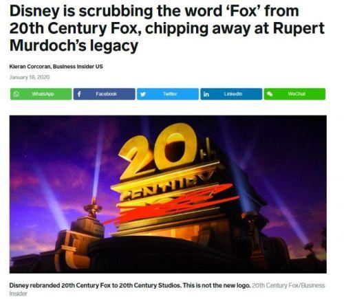 一个时代的终结?二十世纪福克斯电影公司改名了