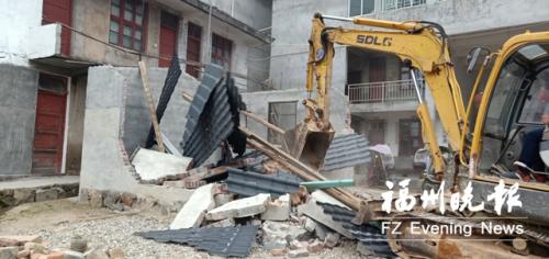 永泰县大洋镇拆违现场。