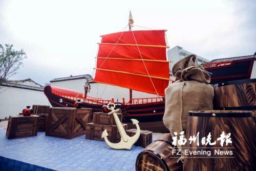 正欲扬帆起航的郑和宝船模型。