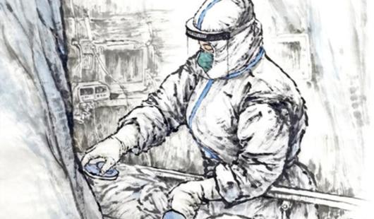 福建福州:筆墨丹青描繪抗疫畫卷