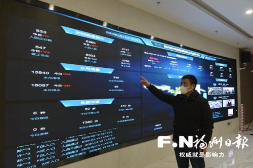 """福州软件园""""线上战'疫'""""作战图。本报记者 池远 摄"""