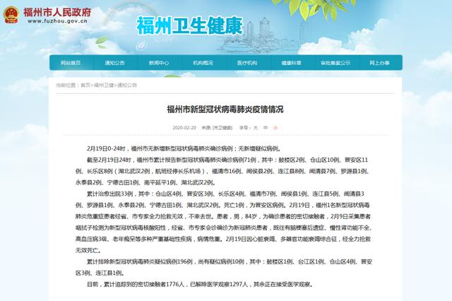 连续两日福州无新增新型冠状病毒肺炎确诊病例