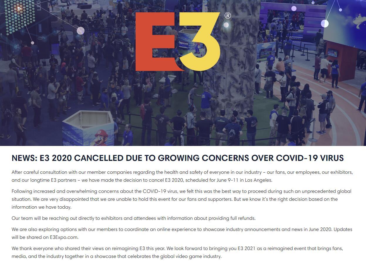 主辦者ESA已正式發表聲明E3 2020正式取消