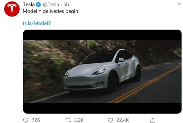 特斯拉正式宣布交付Model Y,與分析師預期一致