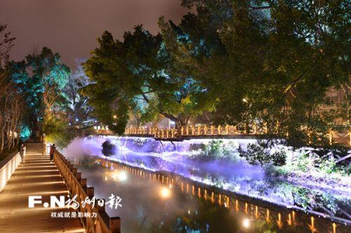 白马河夜景。