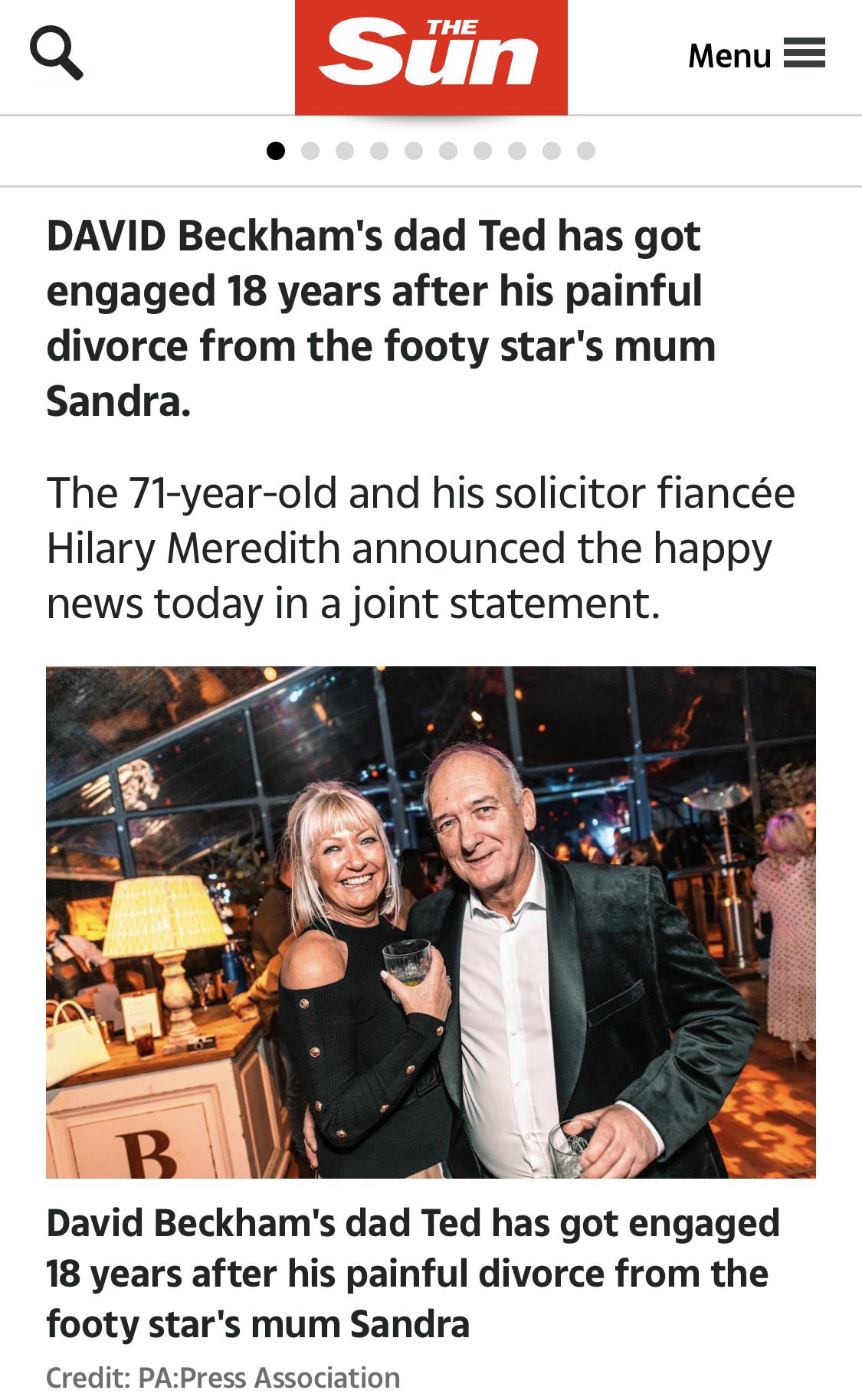 貝克漢姆71歲父親與女友訂婚 對方是知名律師