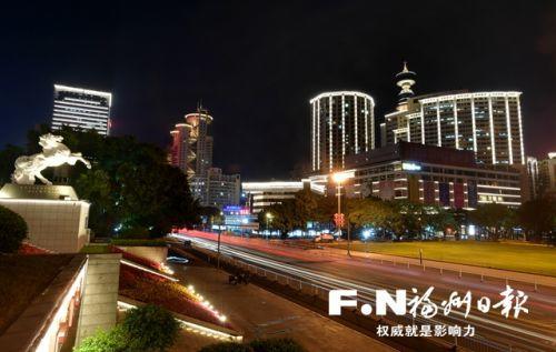 """福州五一广场片区夜景""""组团""""亮灯"""