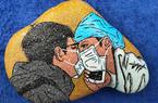 福建农林大学学子以石头作画 致敬抗疫英雄