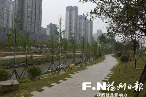 福州胪雷河中央大道段串珠公园下月底迎客
